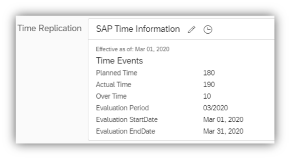 Time Data Replication from SAP ERP HCM to Employee Central Sample Screen